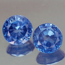 1.15CT SPARKLING VVS PAIR 4.8MM ROUND BLUE THAILAND HEATED ONLY SAPPHIRE