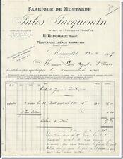 Facture - Jules Jacquemin Fabrique de Moutarde à Meursault 1905 ?