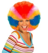 Mens Ladies Huge Rainbow Curly Afro Wig Mardi Gras Gay Pride Clown Fancy Dress