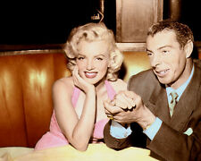 "MARILYN MONROE JOE DiMAGGIO CELEBRITY COUPLE 8x10"" HAND COLOR TINTED PHOTO"