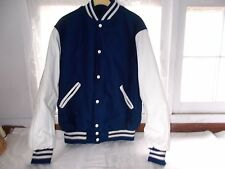 New Holloway School Team Varsity Letter Sports Jacket Coat Blue White Sz Medium
