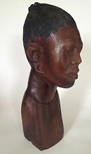 African Wood Carving Bust of a Woman 5th 27th Anniversary Gift