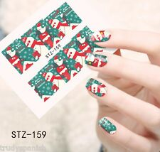 Full Wrap Water Transfers Nail Art Stickers Decals Christmas Santa Snowman (159)