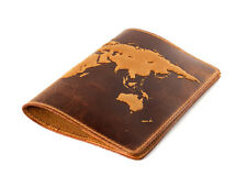 "Sale!!!Handmade Premium leather passport cover case ""World Map 3 D Print"""