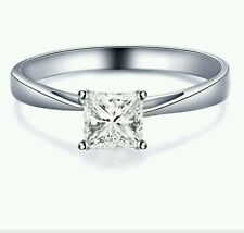1CT SOLITAIRE ENGAGEMENT BRILLIANT PRINCESS CUT RING SOLID 14K WHITE  GOLD