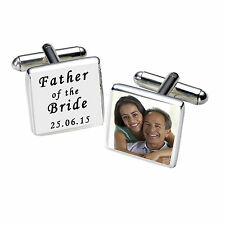Personalised Silver Plated Engraved Father of the Bride Photo Cufflinks White