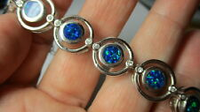STERLING SILVER 925 ESTATE ROUND OVAL SYNTHETIC BLUE FIRE OPAL 7 INCH BRACELET