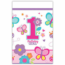 """54"""" x 102"""" Sweet Pink Butterfly Girl's 1st Birthday Party Plastic Table Cover"""