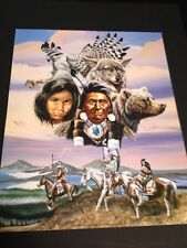 "Native American Collage Large 16"" X 20"" Picture Print In Lithograph by Dealer"