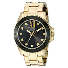 NEW GUESS WATCH Men * Gold Tone and Black Classic Style Stainless Steel U0721G2
