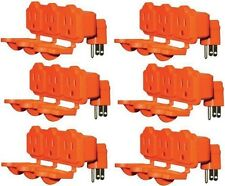 (6) KAB-3FLU-ORG  Heavy Duty 3 Way Orange Outdoor Electrical Outlet Adapters