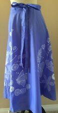 One Size (Fits Most) Blue Floral Butterfly Wrap Around Skirt Boho Hippie Tie Dye