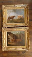 Pair of Fine Georgian T Hartley Oil Paintings of Cattle in Antique Gilt Frames