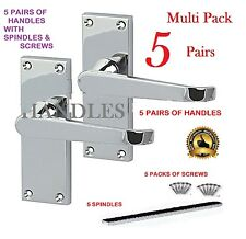 MULTI PACK X 5: Silver/Polished Chrome Modern Internal Door Lever Handles