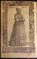 Switzerland/ Suiza. Matrona Svizzera. Xilografía.Vecellio, 1590