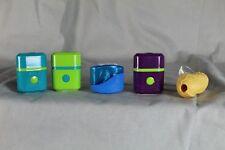 5 Spitzer - coole Formen + Farben , z.B. Erdnuss - mit Auffang Behälter    /S193
