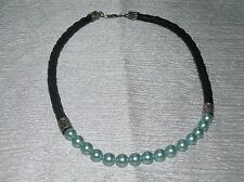 Estate Light Blue Faux Pearl Beads & Braided Black Cord Necklace – 925 Marked