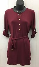 Womens Maroon Tunic Blouse w/Belt Roll Up Sleeves CALVIN KLEIN Sz Small