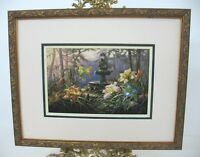 LILIES BY THE FOUNTAIN by R. C. Davis MINI FRAMED