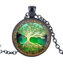 Vintage Gold Green Tree of life Cabochon Glass Pendant Black Chain Necklace #3