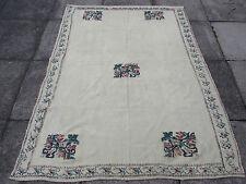 Vieux turc traditionnel européen hand made kilim rug 188x144cm crème laine coton