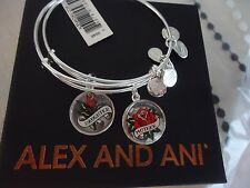Alex and Ani UNBREAKABLE BOND SET Shiny Silver Bangles New W/ Tag Card & Box