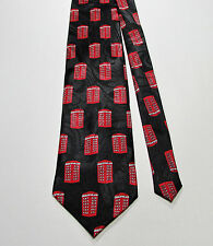 Crest of London 100% Poly Novelty Tie Red Telephone Box London British Booth