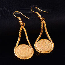 New Hot Chic Coin shape dangle gold filled womens dangle earrings