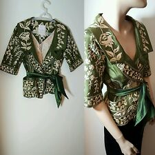 Tracy Reese New York 100% Silk Embroidered Green Evening Jacket Bolero Size 12