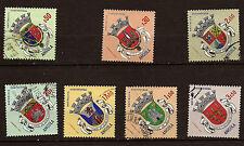 ANGOLA 7 Timbres oblitérés armoiries de 7 regions  du pays    82m8a