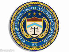 "ATF SEAL ALCOHOL HELMET TOOLBOX TOBACCO FIREARMS 4"" DECAL STICKER MADE IN USA"