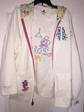 NEW WT Disney Parks Women's XL White Hooded Sweatshirt 2015 Embroidered