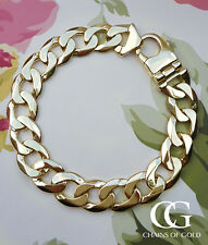 Solid Men's Chunky 9ct Yellow Gold Curb Bracelet 50 grams GIFT BOXED