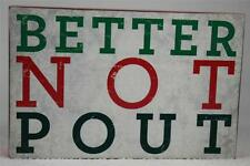 Wooden Word Block 'Better Not Pout' By About Face Hang / Set NEW!