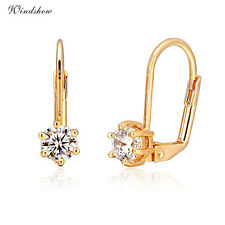 Elegant 18K Gold Plated 6 Claws Faceted CZ Zircon Womens Leverback Earrings