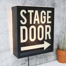 STAGE DOOR Light Up Box UK Mains Plug 240v Black White Arrow Metal Sign Retro