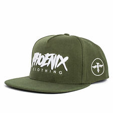 Phoenix Earth Snapback Cap - Olive Grün Fashion Hat Kappe Mütze New Flat Red