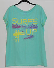 "WOMEN'S OLD NAVY GREEN HEATHER ""SURF'S-UP"" DANA POINT CA T-SHIRT - L"