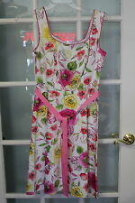 ladies 5/6 Scarlett floral sundress ribbon belt Cotton blend women casual spring