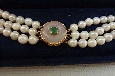 Purple Jade Natural Emerald Pearls Solid 14K Yellow Gold Bracelet