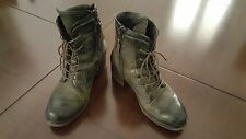 MJUS BY AIRSTEP WOMEN'S BOOTS LEATHER KHAKI / BLACK  EU 38 US 7 MADE IN  ITALY