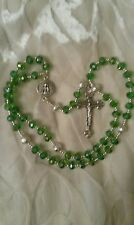 Emerald green crystal Holy Trinity hand made rosary beads gift box Unique
