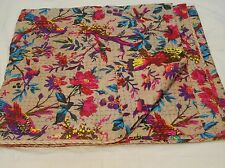 INDIAN KANTHA BIRD PRINT QUILT QUEEN BEDSPREAD BLANKET THROW Vintage WAGE