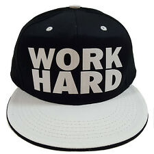WORK HARD Flock Black/White Snapback Cap
