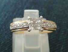 PRETTY 18CT YELLOW AND WHITE GOLD PRINCESS CUT DIAMOND RING