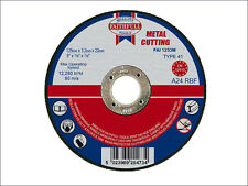 "FAITHFULL 125mm (5"") x 3.2 x 22mm BORE CUT OFF DISC FOR METAL x 2 Discs"