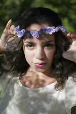 Purple Primrose & Berry Flower Hair Crown Headdress Boho Vintage Headband U33