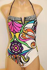 NWT Trina Turk Swimsuit 1piece Size 6 White Multi Removable Strap