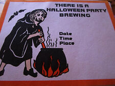 Vintage 1960's HALLOWEEN Invite Invitation UNUSED w/Envelope PARTY BREWING WITCH