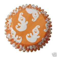 54 High Quality Halloween Cupcake Muffin Cases - Orange with White Casper Ghosts